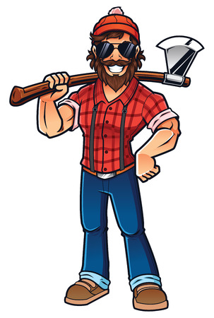 Mascot illustration of smiling lumberjack, standing and holding his axe.