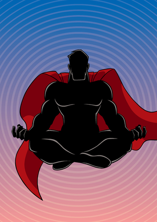Silhouette illustration of meditating superhero on abstract background and some copy space.