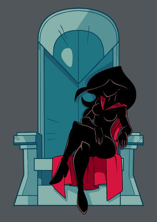 Front view silhouette illustration of a cartoon superheroine sitting on an iron throne as a positive concept for power and leadership isolated on grey background for copy space.