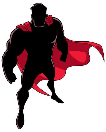 High-Angle-Silhouette-Illustration eines kraftvollen und entschlossenen Mannes, der Superhelden-Kostüm während des mutigen Eingreifens vor weißem Hintergrund für Kopienraum trägt. Vektorgrafik