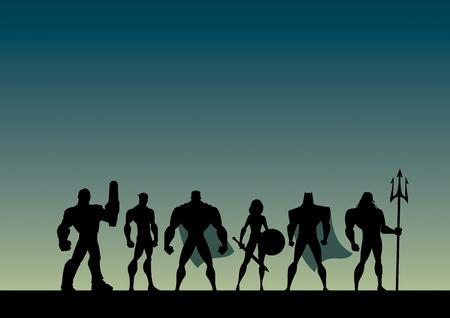 Konzeptionelle Illustration, die ein Team mächtiger Superhelden darstellt.