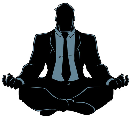 Silhouette front view of a business man meditating in lotus position for calmness and stress relief against white background for copy space. Illustration