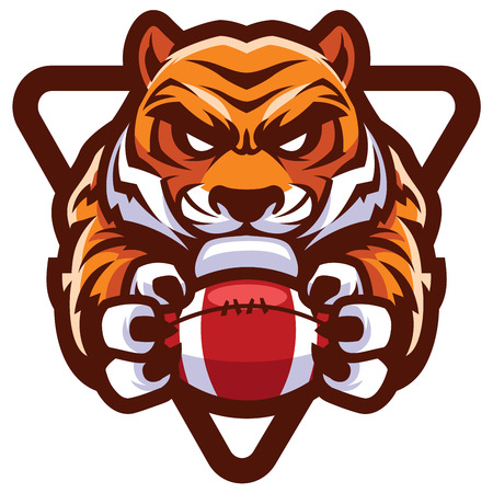 Team mascot with determined tiger holding American football ball.