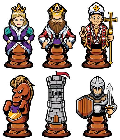 Set completo di personaggi o mascotte dei pezzi degli scacchi dei cartoni animati, tra cui pedone, torre, cavaliere, vescovo, regina e re. Controlla anche la versione bianca e nera delle figure. Vettoriali
