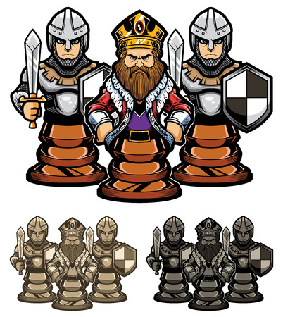 Cartoon illustration depicting chess king and his pawn guards.