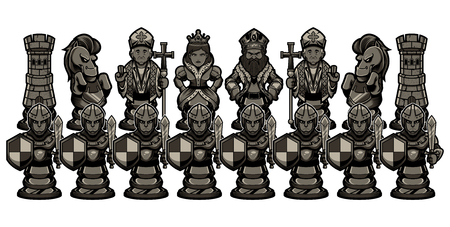 Full set of black cartoon chess piece characters, including pawn, rook, knight, bishop, queen and king.