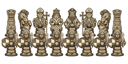 Full set of white cartoon chess piece characters, including pawn, rook, knight, bishop, queen and king.