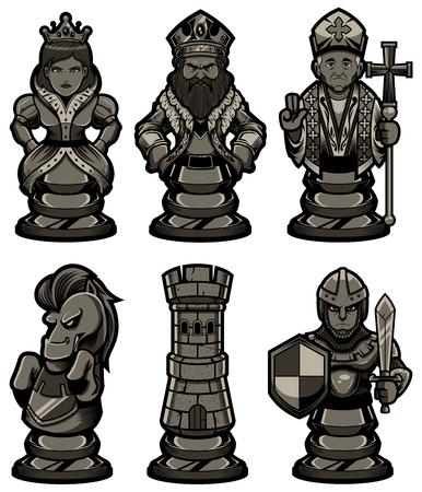 Satz von schwarzen Zeichentrickfiguren oder Maskottchen, einschließlich Bauer, Turm, Ritter, Bischof, Königin und König. Überprüfen Sie auch die weiße Version der Figuren in meinem Portfolio.