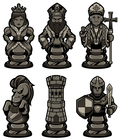 Set of black cartoon chess piece characters or mascots, including pawn, rook, knight, bishop, queen and king. Also check the white version of the figures in my portfolio.