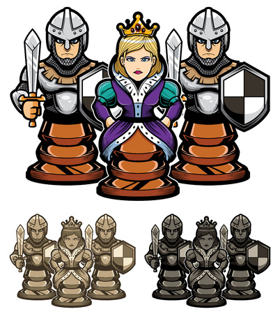 Cartoon illustration depicting chess queen and her pawn guards.
