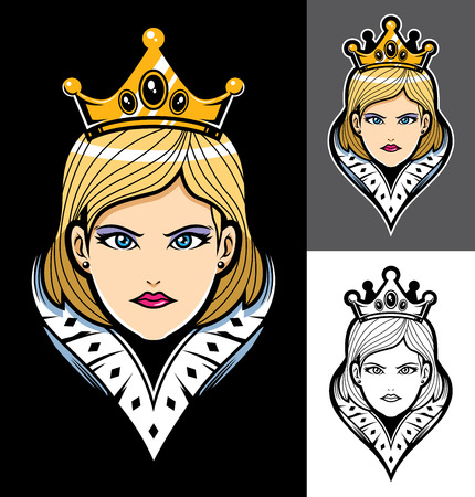 Queen portrait mascot or logo in 3 versions.  イラスト・ベクター素材