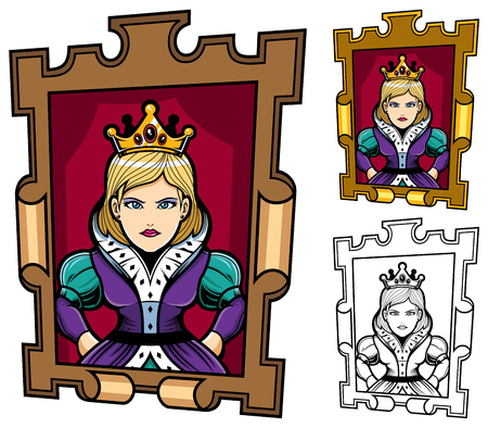 Queen portrait mascot or logo in 3 versions.