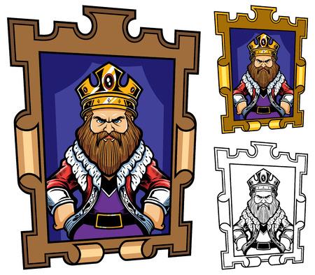 King portrait mascot or logo in 3 versions. Standard-Bild - 120435919