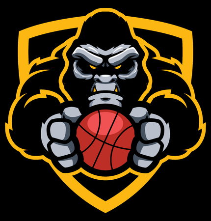 Team mascot with determined gorilla holding basketball ball.