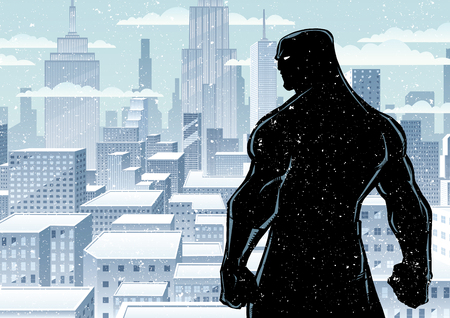 Comics style silhouette illustration of powerful superhero standing ready for battle on winter city background.