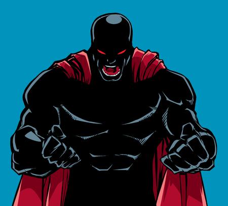Ilustración de silueta de superhéroe furioso con puños cerrados listos para la batalla. Ilustración de vector