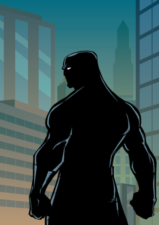 Comics style silhouette illustration of powerful superhero standing on cityscape background.