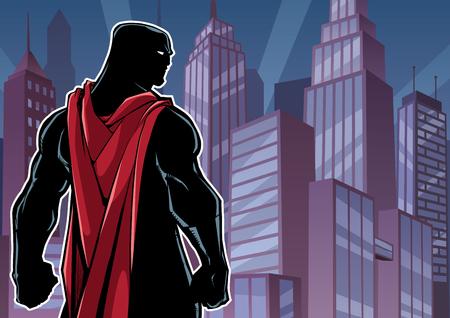 Comics style silhouette illustration of powerful superhero standing on cityscape background. Illusztráció