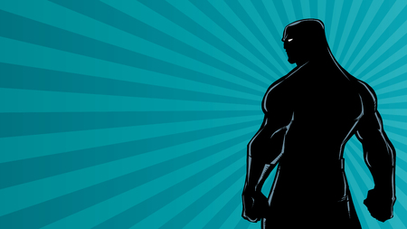 Comics style silhouette illustration of powerful superhero standing on ray light background.