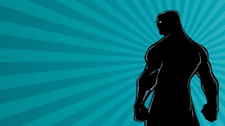 Comics style silhouette illustration of powerful superhero standing on ray light background. Ilustrace