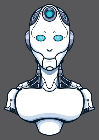 Concept illustration for artificial intelligence depicting the portrait of a friendly humanoid robot. Banque d'images - 120435888