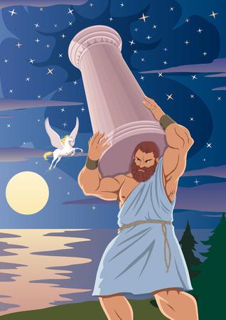 Der Titan Atlas stützt den Himmel mit einer Säule auf seinen Schultern. Das geflügelte Pferd Pegasus geht an ihm vorbei.