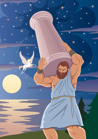 El Titan Atlas sostiene los cielos por medio de un pilar sobre sus hombros. El caballo alado Pegaso pasa junto a él.