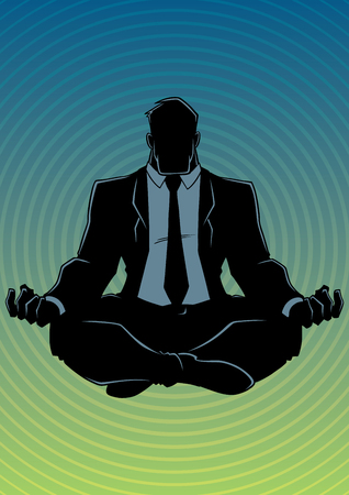 Silhouette front view of a business man meditating in lotus position for calmness and stress relief against abstract background and some copy space. Imagens - 124991809