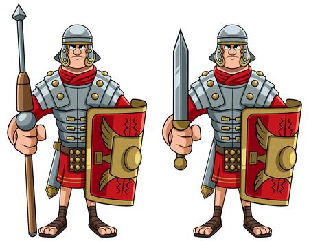 Ilustracja rzymskiego żołnierza w pełnym rynsztunku bojowym.