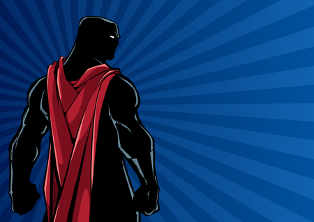 Comics style silhouette illustration of powerful superhero standing on ray light background. Illusztráció