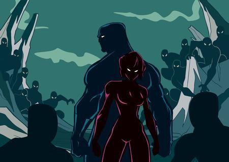 Illustration de la silhouette du couple de super-héros debout contre les sbires maléfiques.