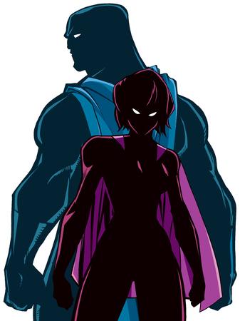 Illustration de la silhouette du couple de super-héros, debout dos à dos, prêt pour la bataille .....