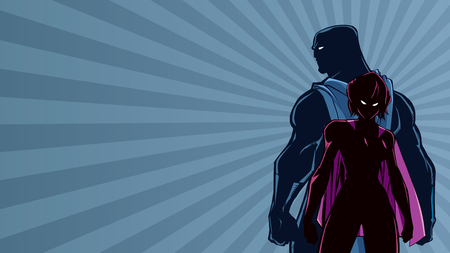 Superhero couple standing back to back on abstract background.