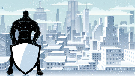 Illustration of powerful superhero holding big shield on winter city background.