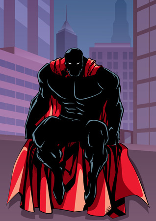Full length illustration of powerful superhero sitting on the edge of a roof or on a wall with city background behind him.