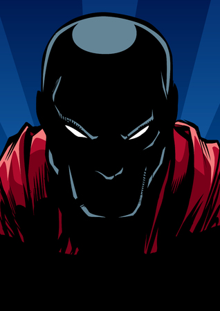 Silhouette ilustration of the portrait of powerful superhero looking at camera with tough facial expression. Ilustração