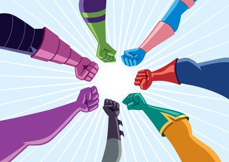 Conceptuele afbeelding van een team van superhelden dat zich verzamelt tegen een gemeenschappelijke vijand.
