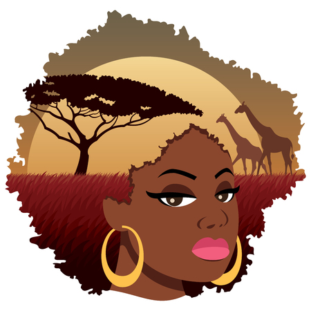 Sexy lady with Afro hairstyle containing beautiful African landscape.....