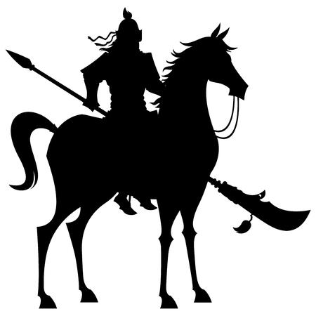 Karikaturillustration des legendären chinesischen Generals Guan Yu auf weißem Hintergrund.