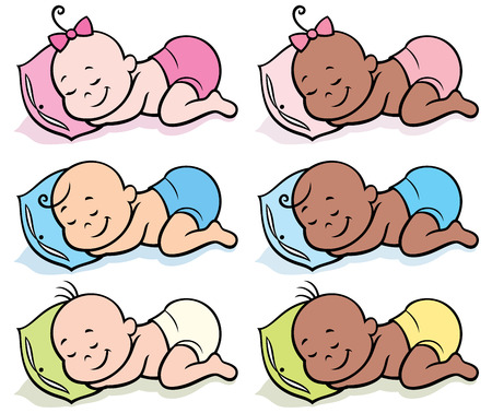Set of 6 sleeping babies in diapers over white background. Illustration