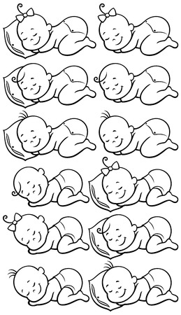 Collection of 12 sleeping babies in black and white, for coloring.....