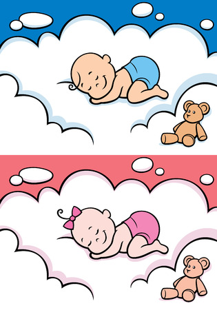 Cartoon baby sleeping on cloud. The illustration is in 2 versions for baby boy and baby girl. You can extend the color of the sky or the white color of the cloud to make place for your text.