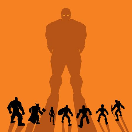 Conceptual illustration depicting team of superheroes lined up and ready for battle with powerful supervillain. Copy space is included.