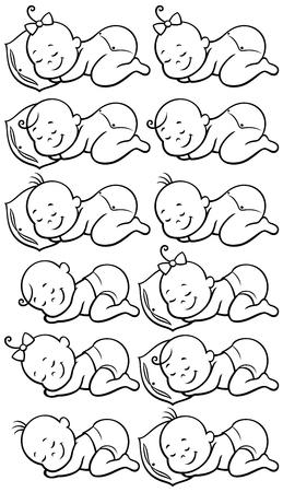 Colección de 12 bebés durmiendo en blanco y negro, para colorear .....