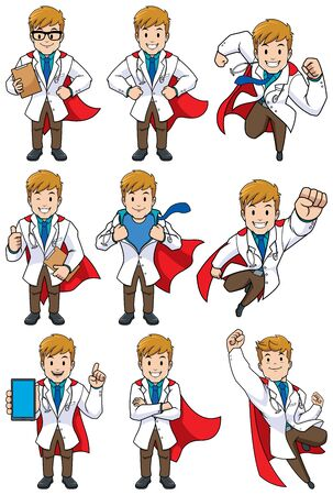 Set with cartoon superhero medical doctor in different poses.
