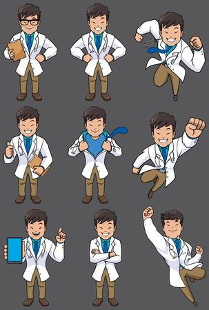 Set with cartoon medical doctor in different poses. Ilustração