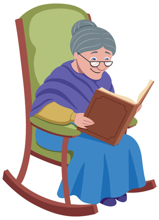 Granny is resting in her swinging armchair while reading an old book.
