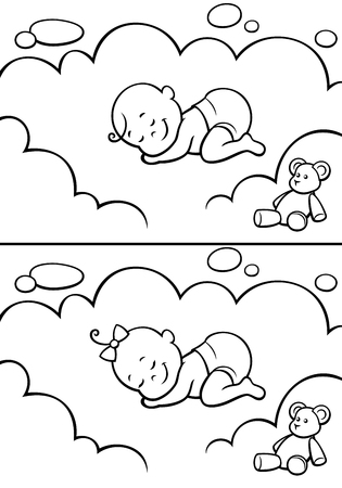 Cartoon baby sleeping on cloud. The illustration is in 2 versions for baby boy and baby girl. You can extend the color of the sky or the white color of the cloud to make place for your text. Vector Illustration