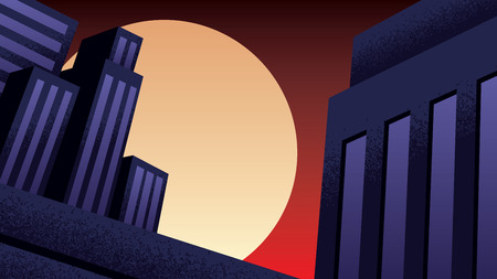 Illustration of cartoon cityscape at night in comic book style.