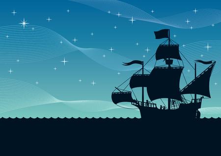 Illustration de dessin animé de voilier de nuit. Vecteurs